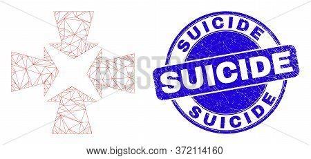 Web Carcass Shrink Arrows Pictogram And Suicide Seal Stamp. Blue Vector Round Textured Seal Stamp Wi