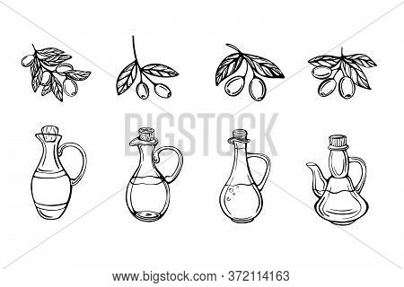 A Hand-drawn Set Of Olive Oil Bottles And Olive Branches And Isolated On A White Background. Extra O