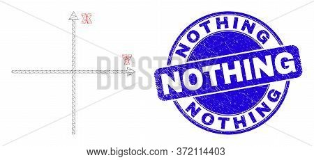 Web Carcass Cartesian Axes Pictogram And Nothing Seal Stamp. Blue Vector Round Distress Seal Stamp W