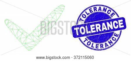 Web Mesh Yes Tick Pictogram And Tolerance Stamp. Blue Vector Round Scratched Seal Stamp With Toleran