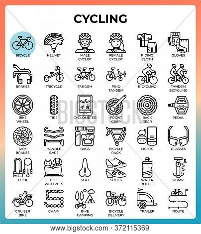 Cycling Concept Line Icons Set In Modern Style For Ui, Ux, Web, App, Brochure, Flyer And Presentatio