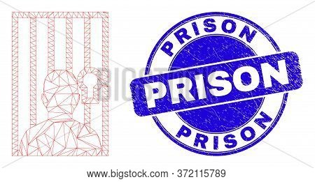 Web Mesh Jailed Person Pictogram And Prison Stamp. Blue Vector Rounded Grunge Stamp With Prison Capt