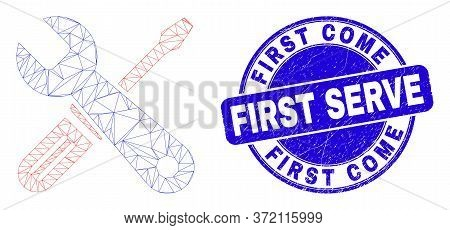 Web Carcass Repair Tools Icon And First Come First Serve Seal Stamp. Blue Vector Rounded Scratched S
