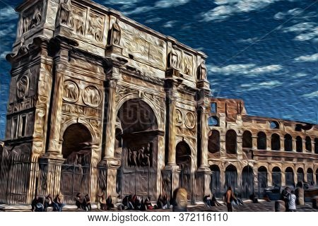 Arch Of Constantine, A Triumphal Marble Structure Beside The Colosseum In The Historical Center Of R