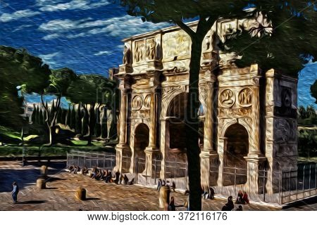 Arch Of Constantine, A Triumphal Marble Structure Beside Trees In The Historical Center Of Rome. The