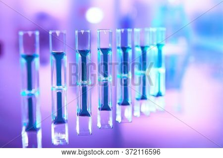 Scientific Background In Vibrant Neon Colors, Purple, Blue And Turquoise. Pharma, Biotech, Protein A