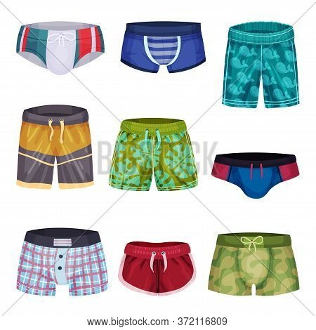 Loose-fitting And Tight Male Brief Shorts And Swimming Trunks Vector Set