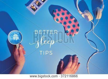 Text Better Sleep Tips . Healthy Night Sleep Creative Concept. Sleep Mask In Pastel Colors, Earphone