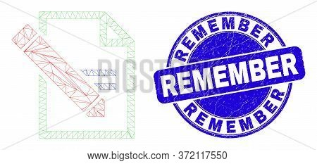 Web Mesh Edit Text Page Pictogram And Remember Stamp. Blue Vector Rounded Scratched Seal Stamp With