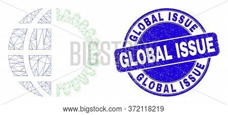 Web Mesh Global Service Icon And Global Issue Seal Stamp. Blue Vector Rounded Scratched Seal With Gl