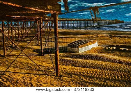 Overturned Boat Hull On The Beach With Long Rusty Pier Heading To The Sea In Pacasmayo. A Cute Seasi