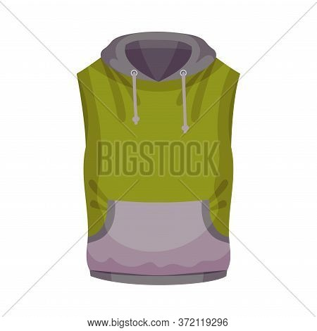 Training Top Or Sports Sleeveless Shirt With Hood As Track Womenswear Vector Illustration
