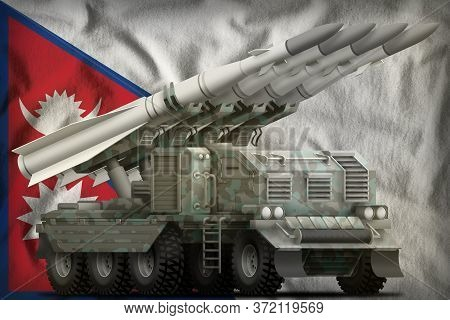 Tactical Short Range Ballistic Missile With Arctic Camouflage On The Nepal Flag Background. 3d Illus