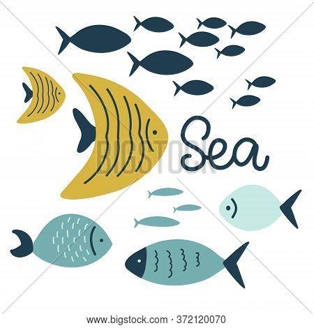 Set Of Cute Exotic Fish, Sea Ocean, Cartoon Lettering Vector Illustration Hand Drawing