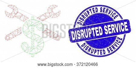 Web Mesh Repair Price Pictogram And Disrupted Service Seal Stamp. Blue Vector Rounded Scratched Seal