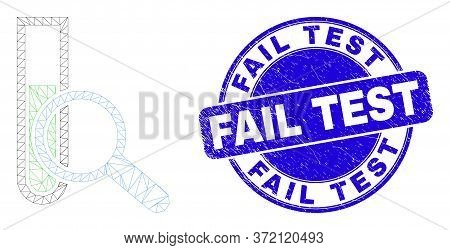 Web Carcass Explore Test-tube Pictogram And Fail Test Seal Stamp. Blue Vector Round Scratched Seal S