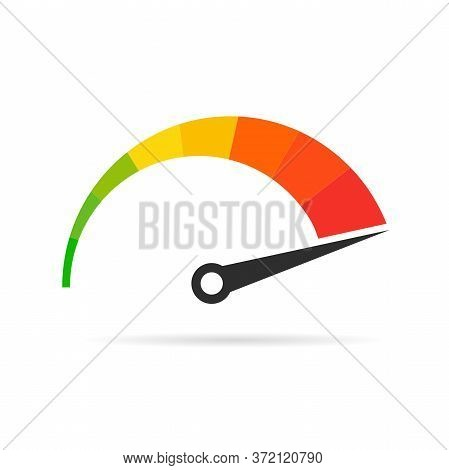 Speedometer Rating Set. Colored Tachometer Sign With Arrow.