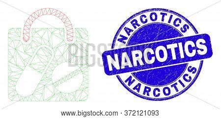Web Mesh Drugs Shopping Bag Icon And Narcotics Stamp. Blue Vector Rounded Grunge Stamp With Narcotic