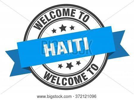 Haiti Stamp. Welcome To Haiti Blue Sign