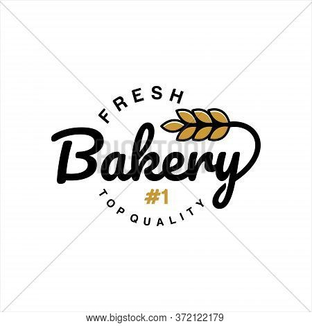 Baking Logo Simple Modern Typography Badge Concept Of Fresh Bake Pastry For Bakery Label Stamp Embro