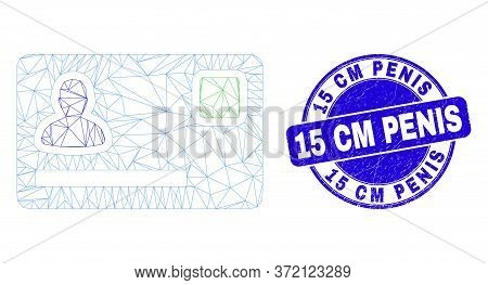 Web Carcass Personal Credit Card Pictogram And 15 Cm Penis Seal Stamp. Blue Vector Round Scratched W