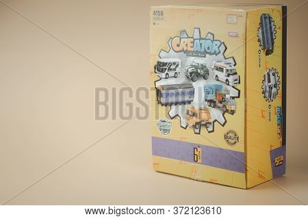 Samut Prakan, Thailand - June 18, 2020 : Box Of Toy Eggs Surprise Mini Blocks Of Toy Car From Loz Cr