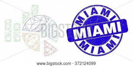 Web Mesh Statistics Charts Icon And Miami Seal. Blue Vector Rounded Textured Watermark With Miami Ca