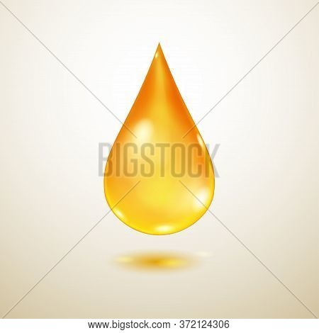 One Big Realistic Translucent Water Drop In Yellow Colors With Shadow