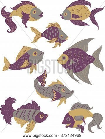 Isolated Fish Set. Set Of Freshwater Aquarium Cartoon Fishes. Purple, Gold, Violet And Grey Colors.