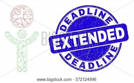 Web Mesh Time Manager Pictogram And Deadline Extended Seal Stamp. Blue Vector Rounded Distress Seal