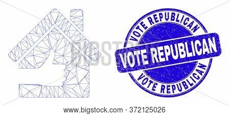 Web Mesh Best House Icon And Vote Republican Seal. Blue Vector Rounded Grunge Seal Stamp With Vote R