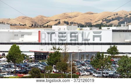 Fremont, Ca - June 15, 2020: Close Up Of Sign At Tesla Factory In Fremont, California, One Of The Wo