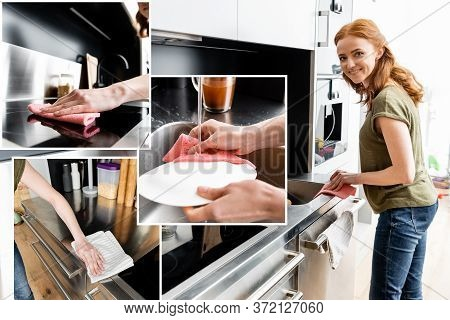 Of Smiling Woman Cleaning Worktop And Washing Plate In Kitchen