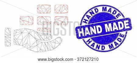 Web Carcass Hand Offer Bricks Icon And Hand Made Seal. Blue Vector Round Distress Seal With Hand Mad