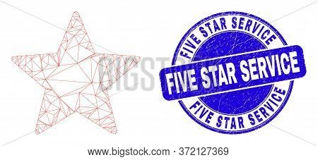 Web Carcass Star Icon And Five Star Service Seal. Blue Vector Rounded Scratched Seal Stamp With Five