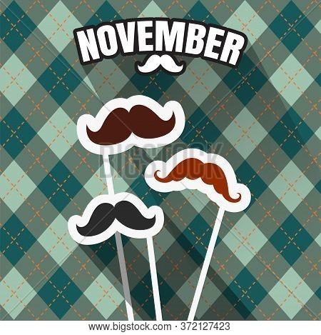 November, Mustache Season. Fake Mustache For Carnival In November.