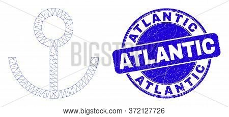 Web Carcass Anchor Pictogram And Atlantic Seal Stamp. Blue Vector Round Distress Watermark With Atla
