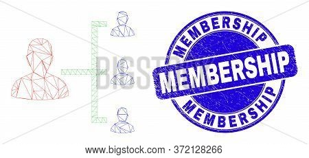 Web Mesh People Hierarchy Pictogram And Membership Watermark. Blue Vector Round Grunge Watermark Wit