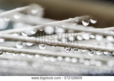 Close-up Of Water Drops On A Clothesline On A Rainy Day