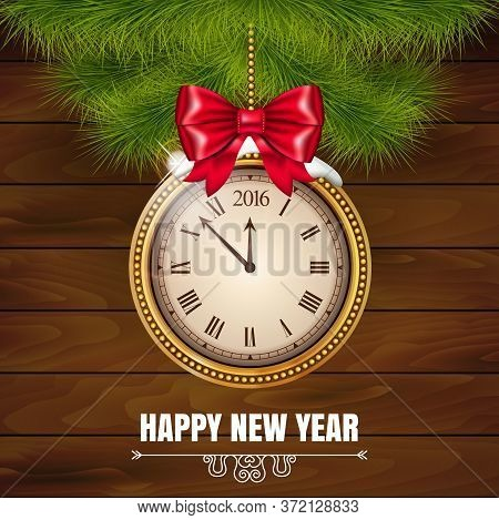Illustration New Year Midnight 2016 Glowing Background With Clock On The Wood Background. Vector Ill