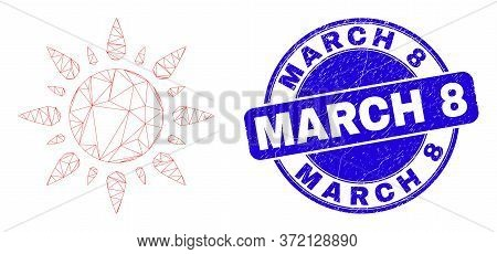 Web Mesh Sunshine Icon And March 8 Seal Stamp. Blue Vector Round Distress Seal With March 8 Message.