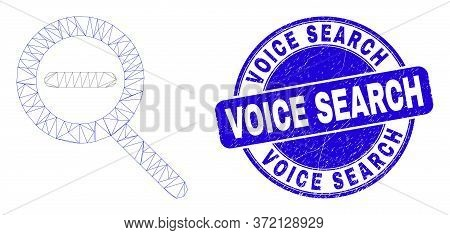 Web Mesh Zoom Out Icon And Voice Search Watermark. Blue Vector Rounded Scratched Seal Stamp With Voi