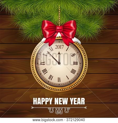 Illustration New Year Midnight 2017 Glowing Background With Clock On The Wood Background. Vector Ill