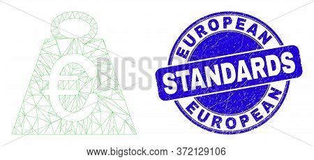 Web Mesh Euro Mass Pictogram And European Standards Seal. Blue Vector Round Scratched Seal Stamp Wit