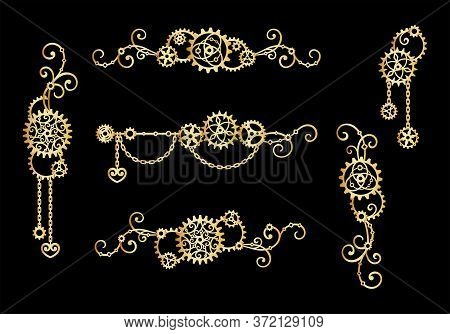Borders And Frames Of Golden Gears, Chains And Curls On A Black Background. Mechanism. Steampunk. Se