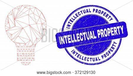 Web Mesh Electric Bulb Pictogram And Intellectual Property Seal. Blue Vector Round Grunge Seal With