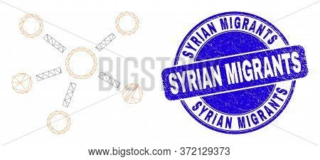 Web Mesh Relations Pictogram And Syrian Migrants Seal. Blue Vector Rounded Distress Seal Stamp With