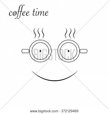 Coffe Time Isolated Icon On White Background, 400 Coffee Set, Company Name, Banner