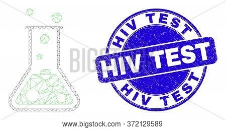 Web Carcass Chemical Retort Icon And Hiv Test Seal Stamp. Blue Vector Rounded Scratched Seal Stamp W