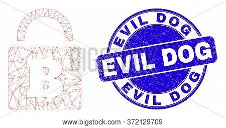 Web Mesh Bitcoin Lock Icon And Evil Dog Seal Stamp. Blue Vector Rounded Distress Seal Stamp With Evi